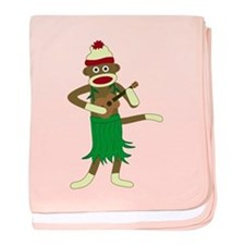 Sock Monkey Ukulele Infant Blanket