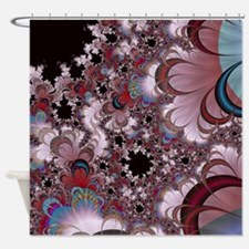 Strawberry Cream Moons Fractal Shower Curtain