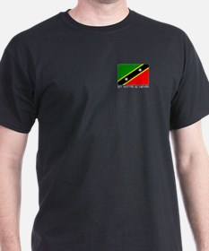 """St Kitts & Nevis"" Black T-Shirt (Pocket Image)"