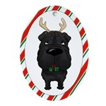 Shar-Pei Christmas Antlers Ornament (Oval)