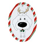 Poodle Christmas Antlers Ornament (Oval)
