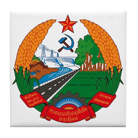 Laos Coat of Arms Tile Coaster