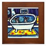 Rat terrier bath Framed Tiles