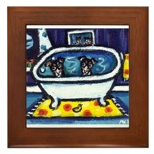 RAT TERRIERS bath Framed Tile