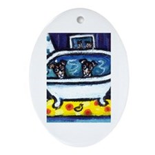 RAT TERRIERS bath Oval Ornament