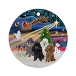 Xmas Magic-Four Poodles (Toy/Min) Ornament (Round)