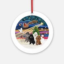 Xmas Magic-Four Poodles (Toy/Min) Ornament (Round)
