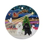 Xmas Magic - 2 Toy/Min. PoodlesOrnament (Round)