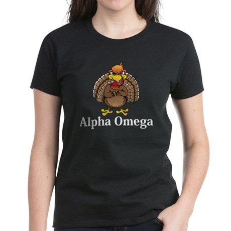 Apha Omega Logo 13 Women's Dark T-Shirt Design Fro