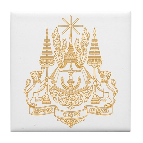 Cambodia Coat of Arms Tile Coaster