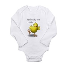 hatched by two chicks Long Sleeve Infant Bodysuit