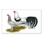 Yokohama Duckwing Chickens Sticker (Rectangle 50 p