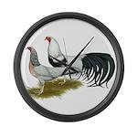 Yokohama Duckwing Chickens Large Wall Clock