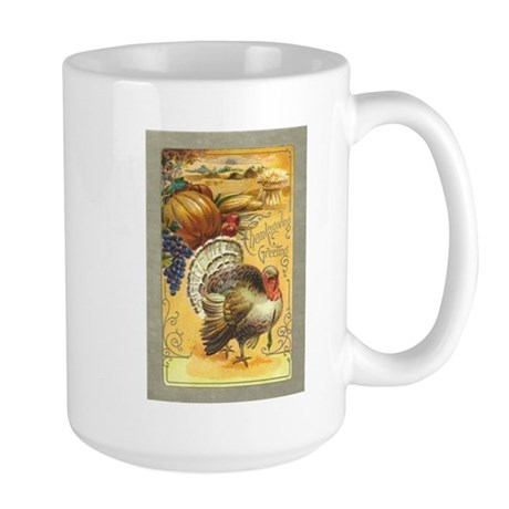 Vintage Thanksgiving design Large Mug