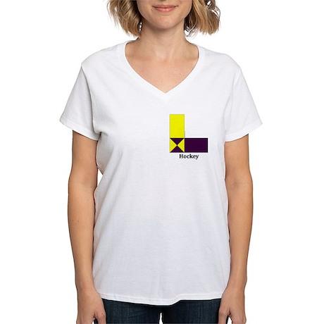 Women's V-Neck T-Shirt-yellow-purple