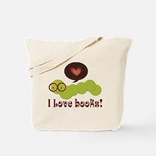 I Love Books Bookworm Tote Bag