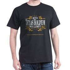 Aces Texas Hold'em No Limit Black T-Shirt