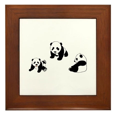 Pandas At Play Framed Tile
