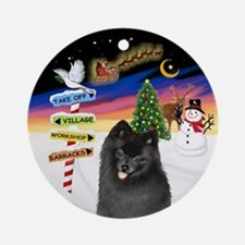 Xsigns-Black Pomeranian Ornament (round)