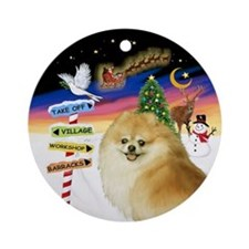 Xsigns-Pomeranian (ws) Ornament (round)