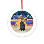 Xmas Star - Black Pomeranian Ornament (Round)