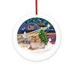 Xmas Magic - Pomeranian #4 Ornament (Round)