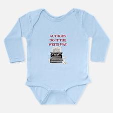 funny author writer pun Long Sleeve Infant Bodysui