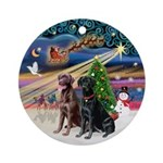 Xmas Magic - 2 Labs (blk+choc) Ornament (Round)