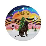 Xmas Music 2 - Chocolate Lab Ornament (Round)