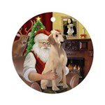 Santa's Yellow Labrador Ornament (Round)