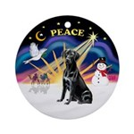 Xmas Sunrise - Black Labrador Ornament (Round)