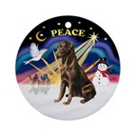 Xmas Sunrise - Chocolate Labrador Ornament (Round)
