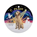 Xmas Sunrise - Yellow Labrador Ornament (Round)