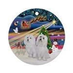 Xmas Magic - two Maltese Ornament (Round)