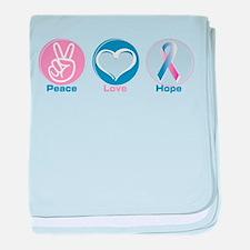 Peace Love Bl Pk Hope baby blanket