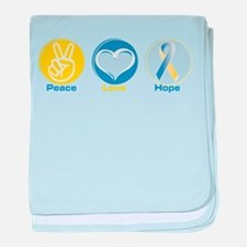 Peace Love BlueYellow Hope baby blanket