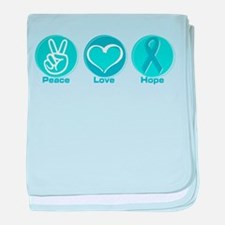 Peace Love Teal Hope Infant Blanket