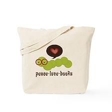 Peace Love Books Bookworm Tote Bag