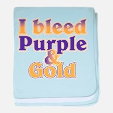 Bleed Purple and Gold baby blanket