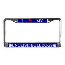 Blue I Love My English Bulldogs Frame