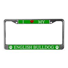 Green I Love My English Bulldog Frame