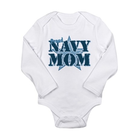 Proud Navy Mom Long Sleeve Infant Bodysuit