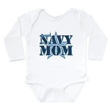 Proud Navy Mom Long Sleeve Infant Bodysuit