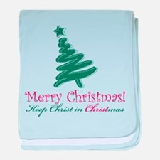 Merry Christmas tree baby blanket
