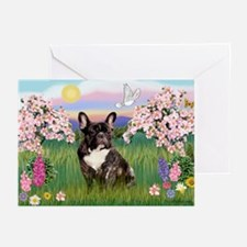 Blossoms & French Bulldog Greeting Cards (Pk of 10
