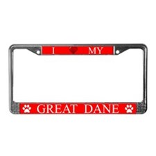 Red I Love My Great Dane Frame