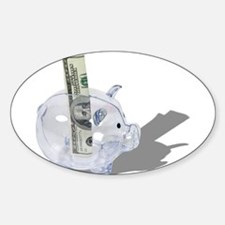 Money Piggy Bank Sticker (Oval)