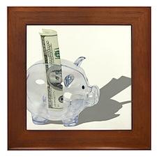 Money Piggy Bank Framed Tile