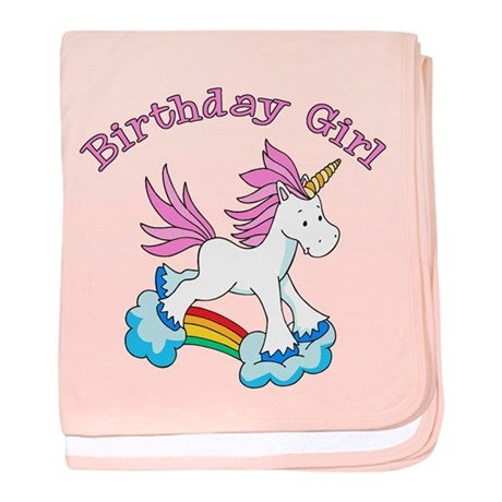 Rainbow Unicorn Birthday Girl Infant Blanket