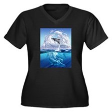 Dolphonic Symphony Women's Plus Size V-Neck Dark T